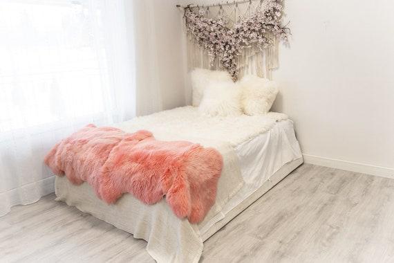 Double Pink Merino Sheepskin Rug   Long rug   Shaggy Rug   Chair Cover   Area Rug   Pink Rug   Carpet   Pink Throw   Sheep Skin