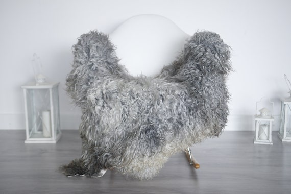 Real Sheepskin Rug Genuine Rare Gotland Sheepskin Rus - Curly Fur Rug Scandinavian Sheepvskin - Gray Sheepskin #1got9