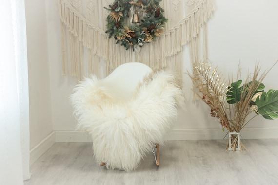 Real Icelandic Sheepskin Rug Scandinavian Decor Sofa Sheepskin throw Chair Cover Natural Sheep Skin Rugs Brown Ivory #Iceland95