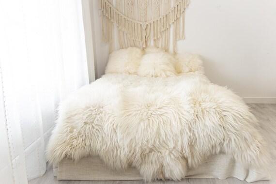 Triple Ivory Icelandic Sheepskin Rug | Long rug | Shaggy Rug | Chair Cover | Area Rug | Black Rug | Carpet | Icelandic Sheep skin