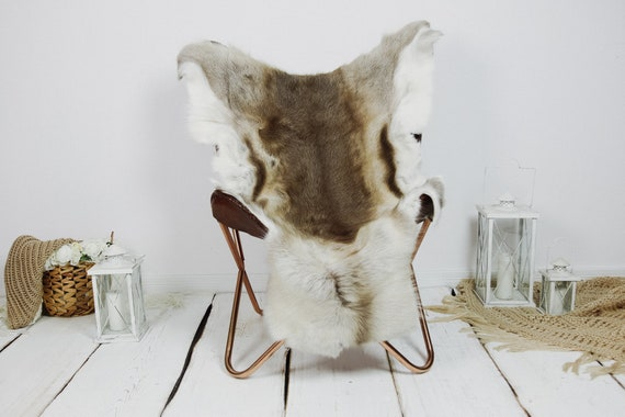 Reindeer Hide | Reindeer Rug | Reindeer Skin | Throw XXL EXTRA LARGE - Scandinavian Style Christmas Decor Brown White Hide #Kre9