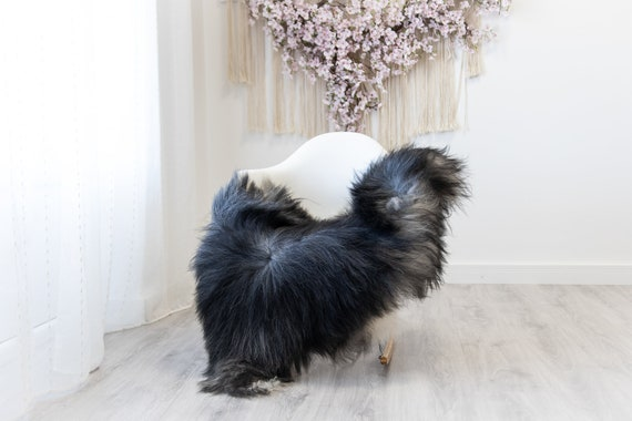 Real Icelandic Sheepskin Rug Scandinavian Decor Sofa Sheepskin throw Chair Cover Natural Sheep Skin Rugs Gray Black #Iceland232