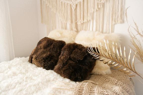 Sheepskin Fur Pillow, Real fur pillow, Brown fur pillow, Square sheepskin pillow, Brown pillow, scandinavian pillow, Both side fur