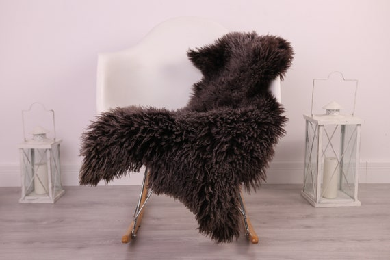 Real Sheepskin Rug Genuine Rare Gotland Sheepskin Rus - Curly Fur Rug Scandinavian Sheepvskin - Black Brown Sheepskin #4Margo8