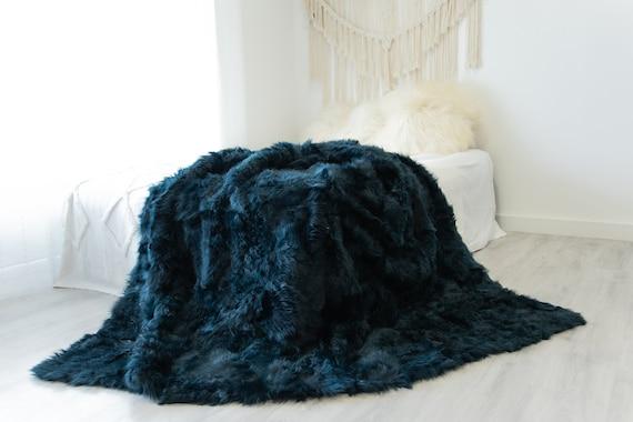 Luxurious Patchwork Toscana Sheepskin Real Fur Throw Real Fur Blanket   Sheepskin throw   Sheepskin Blanket Boho Throw Emerald #FuFu104