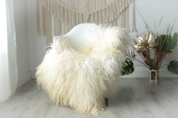 Real Icelandic Sheepskin Rug Scandinavian Decor Sofa Sheepskin throw Chair Cover Natural Sheep Skin Rugs Ivory Fur Rug #Urisl37