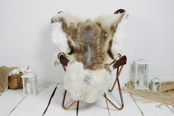 Reindeer Hide | Reindeer Rug | Reindeer Skin | Throw XXL EXTRA LARGE - Scandinavian Style Christmas Decor Brown White Hide #Kre14