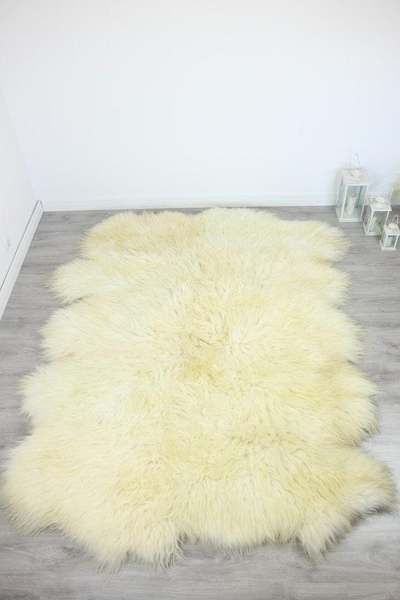 Genuine Natural icelandic creamy white Sheepskin Rug, Giant sheepskin rug, deca sheepskin rug