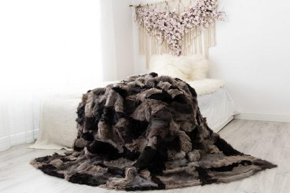 Luxurious Patchwork Toscana Sheepskin Real Fur Throw | Real Fur Blanket | Sheepskin throw | Sheepskin Blanket | Boho Throw |FuFu51