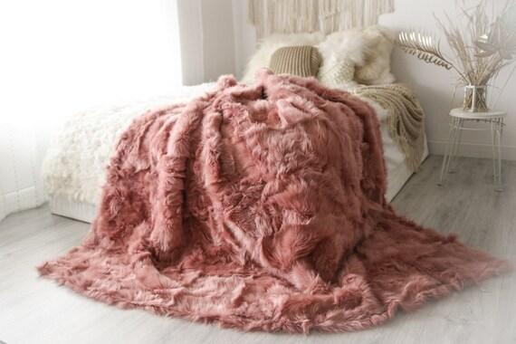 Luxurious Patchwork Toscana Sheepskin Real Fur Throw   Real Fur Blanket   Sheepskin throw   Boho Throw  2FU6