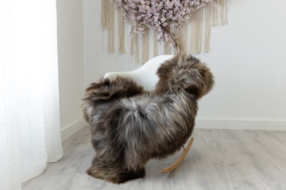 Real Sheepskin Rug Shaggy Rug Chair Cover Scandinavian Home Sheepskin Throw Sheep Skin Gray Brown Sheepskin Home Decor Rugs #herdwik217