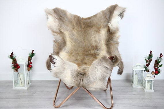 Reindeer Hide | Reindeer Rug | Reindeer Skin | Throw  - Scandinavian Style #ERE9 130x110 | Christmas Decor |