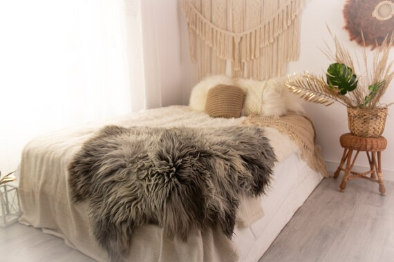 Double XXL Sheepskin Rug | Long rug | Shaggy Rug | Chair Cover | Runner Rug | Carpet | Gray White Sheepskin | Sheepskin Rug | POL15