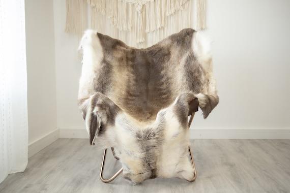 EXTRA LARGE Reindeer Hide | Reindeer Rug | Reindeer Skin | Throw XXL  - Scandinavian Style Christmas Decor Brown White Hide #Reindeer67