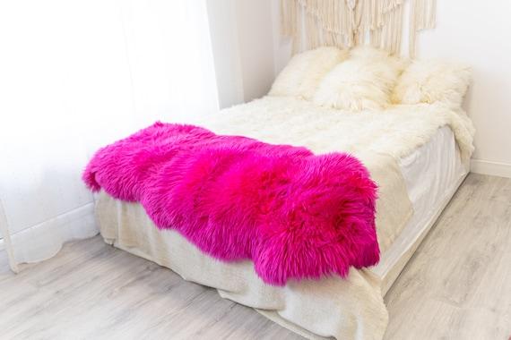 Double Pink Merino Sheepskin Rug | Long rug | Shaggy Rug | Chair Cover | Area Rug | Pink Rug | Carpet | Red Sheep skin Merino Pink Throw