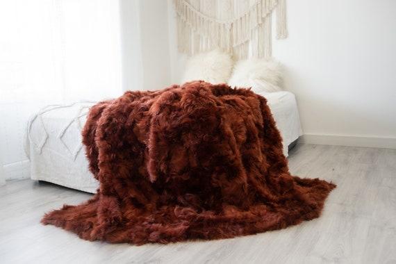 Luxurious Patchwork Toscana Sheepskin Real Fur Throw | Real Fur Blanket | Sheepskin throw | Sheepskin Blanket | Boho Throw |FuFu121