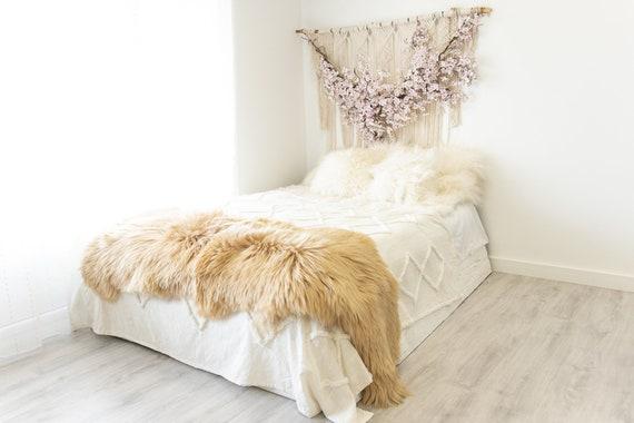 Double Icelandic Blonde Sheepskin Rug | Long rug | Shaggy Rug | Chair Cover | Area Rug | Double Rug | Icelandic Sheep skin #2pol3