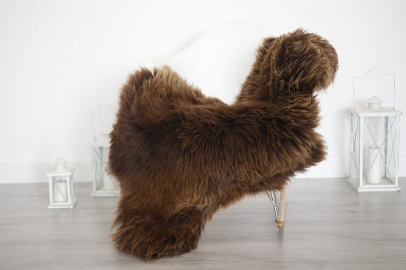 Real Sheepskin Rug Shaggy Rug Chair Cover Sheepskin Throw Sheep Skin Brown White Sheepskin Home Decor Rugs #6her48