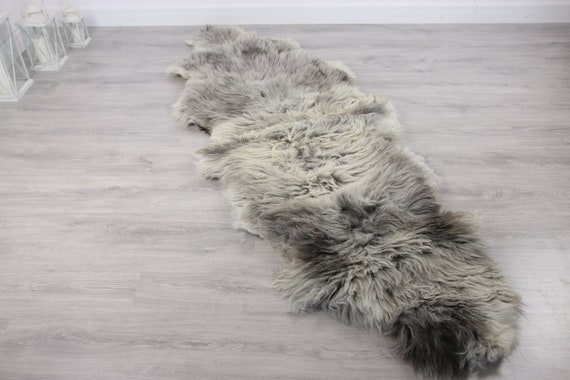Double XXL Sheepskin Rug | Long rug | Shaggy Rug | Chair Cover | Runner Rug | Carpet | Gray Sheepskin | Sheepskin Rug | Grayszy1