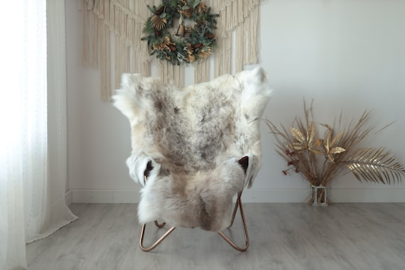 Reindeer Hide | Reindeer Rug | Reindeer Skin | Throw XXL EXTRA LARGE - Scandinavian Style Christmas Decor Brown White Hide #Wre9