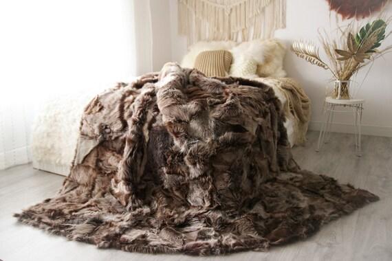 Luxurious Patchwork Toscana Sheepskin Real Fur Throw   Real Fur Blanket   Sheepskin throw   Boho Throw  2FU13