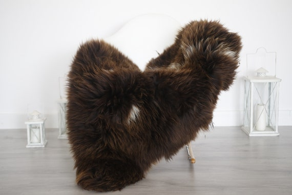 Real Sheepskin Rug Shaggy Rug Chair Cover Sheepskin Throw Sheep Skin Brown White Sheepskin Home Decor Rugs #6her47