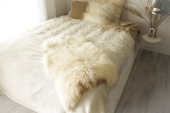 Real Sheepskin Rug Genuine Rare Gotland Sheepskin Rus - Curly Fur Rug Scandinavian Sheepvskin -  Ivory Brown Sheepskin #0Margot12
