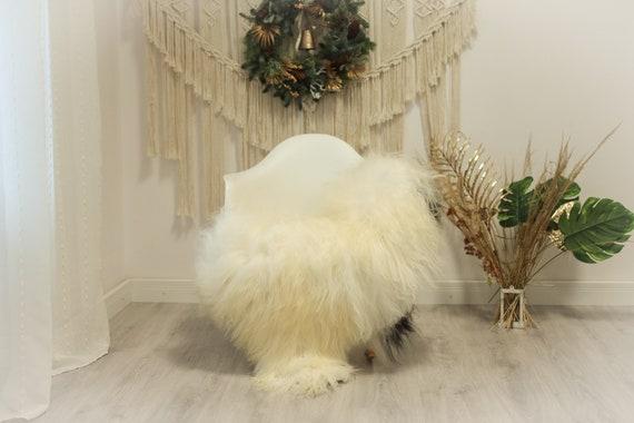 Real Icelandic Sheepskin Rug Scandinavian Decor Sofa Sheepskin throw Chair Cover Natural Sheep Skin Rugs Ivory Black #Iceland74