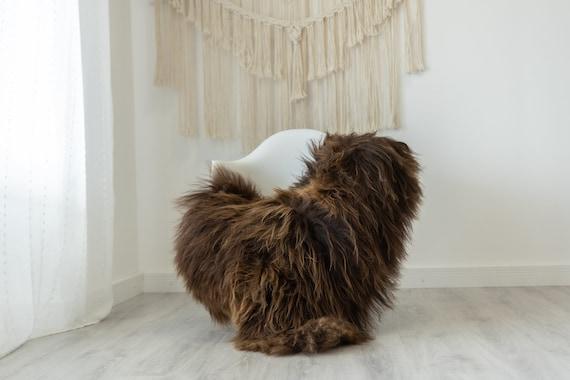 Real Icelandic Sheepskin Rug Scandinavian Decor Sofa Sheepskin throw Chair Cover Natural Sheep Skin Rugs Brown #Iceland391