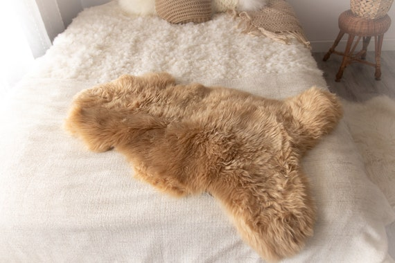 Sheepskin Rug | Real Sheepskin Rug | Shaggy Rug | Chair Cover | Sheepskin Throw | Beige Sheepskin | Sandy Sheepskin | #MIESZ1