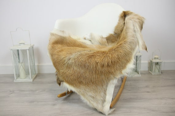 Natural real Goatskin rug, Goat Hide Goat Rug Sand color  #Goat28