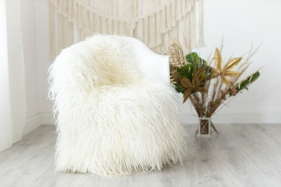 Real Sheepskin Rug Genuine Rare Mongolian Sheepskin Rus - Curly Fur Rug Scandinavian Sheep skin - Ivory Beige Curly Sheepskin #Krecisl6