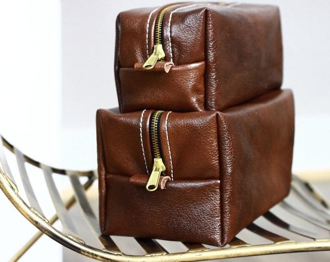 Handmade Men's Real Leather Toiletry Case Dopp Kit Shaving Bag OOAK Groomsmen 2 BAGS KIT Personalized