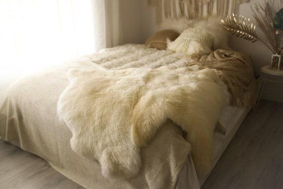 Double Sheepskin Rug | Long rug | Shaggy Rug | Chair Cover | Runner Rug | White Rug  | Creamy White Sheepskin