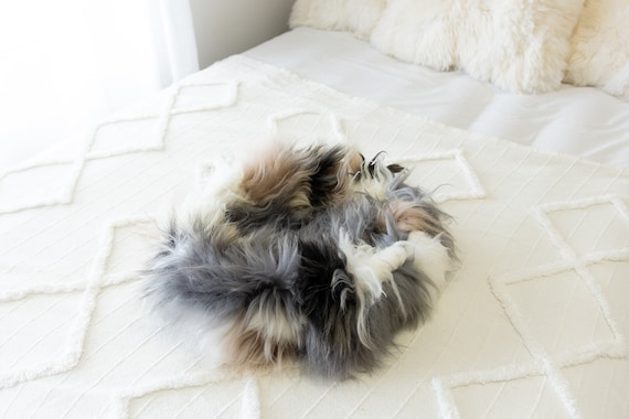 Sheepskin Cat Bed Or Dog Bed Cat Cave Unique Pet Bed Cat House Pet Furniture Hand Made With Genuine Real Sheepskin XXL Extra Large #Bed16