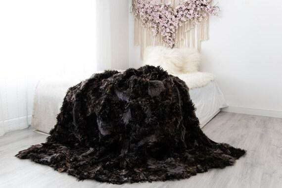 Luxurious Patchwork Toscana Sheepskin Real Fur Throw | Real Fur Blanket | Sheepskin throw | Sheepskin Blanket | Boho Throw |FuFu49