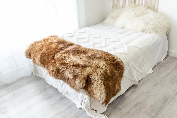 Double Mouflon White Brown Sheepskin Rug | Long rug | Shaggy Rug | Chair Cover | Area Rug | Brown Rug | Carpet | Brown Tips Sheepskin 4POL18