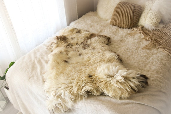 Real Sheepskin Rug Shaggy Rug Chair Cover Sheepskin Throw Sheep Skin Ivory Brown Sheepskin Home Decor Rugs #OCTHER70
