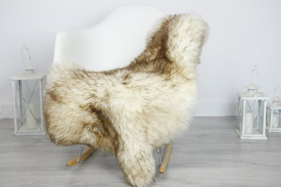 Real Sheepskin Rug Shaggy Rug Chair Cover Sheepskin Throw Sheep Skin Brown White Sheepskin Home Decor Rugs #7her46