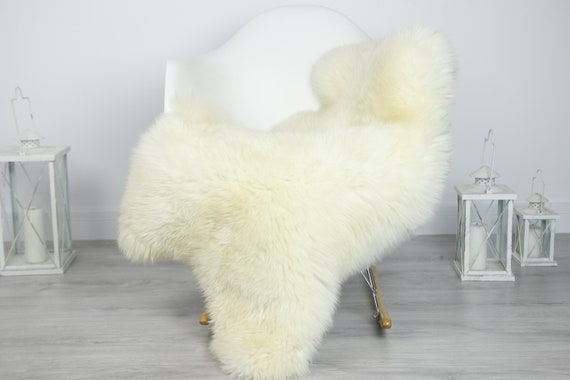 Real Sheepskin Rug Shaggy Rug Chair Cover Sheepskin Throw Sheep Skin Creamy White Sheepskin Home Decor Rugs #7her14