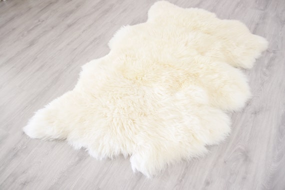 Triple Sheepskin Rug | Creamy white Sheepskin | Beige Sheepskin | Sheepskin Throw | Sheepskin Rug