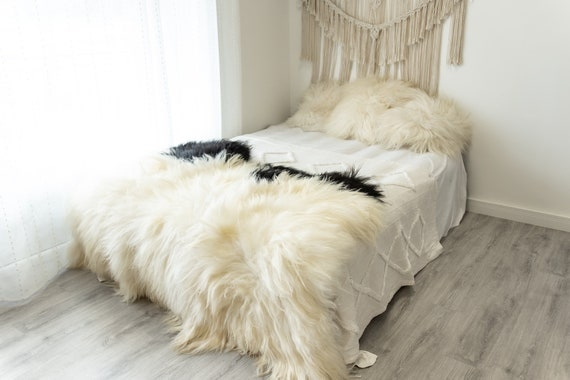 Triple Creamy White Black Sheepskin Rug | Long rug | Shaggy Rug | Chair Cover | Area Rug | Rug | Carpet | Black Throw | Sheep Skin 4POL12