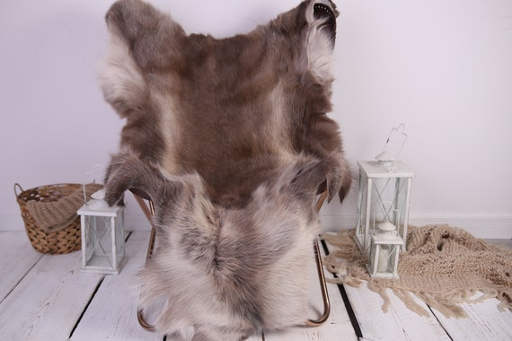 Reindeer Hide | Reindeer Rug | Reindeer Skin | Throw XXL EXTRA LARGE - Scandinavian Style Christmas Decor Brown White Hide #Lre4