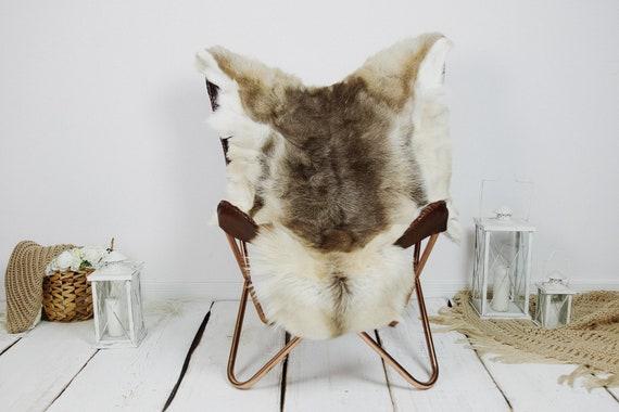 Reindeer Hide   Reindeer Rug   Reindeer Skin   Throw XXL EXTRA LARGE - Scandinavian Style Christmas Decor Brown White Hide #Kre7
