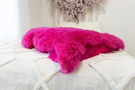 Genuine Natural Amarant Pink Sheepskin Rug Sheepskin Throw Scandinavian Style | Scandinavian Rug | Sheep Skin -  WHOLESALE PACK 10 PIECES