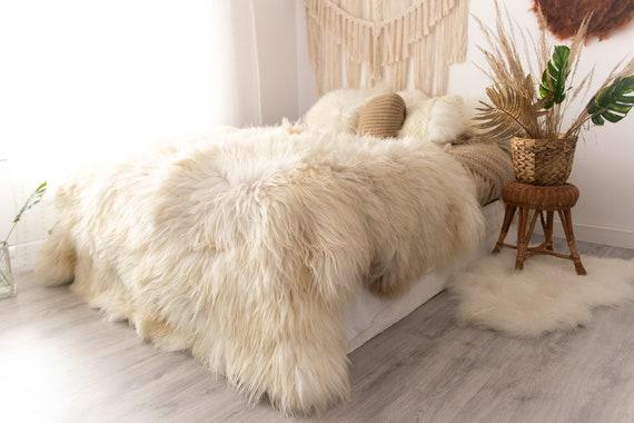 Real Fur Sheepskin Throw | Super Large | Sheepskin Rug | Boho Blanket | Icelandic Fur | Ivory - octo
