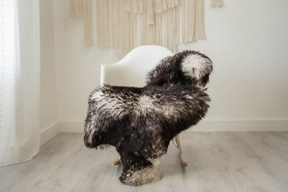 Real Sheepskin Rug Shaggy Rug Chair Cover Scandinavian Home Sheepskin Throw Sheep Skin Black Tips Sheepskin Home Decor Rugs #herdwik334