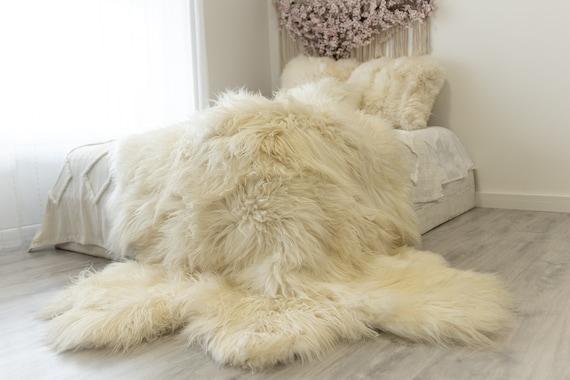 ON SALE Exclusive Genuine Natural rare Icelandic Sheepskin Rug, Pelt, soft long fur Sexto