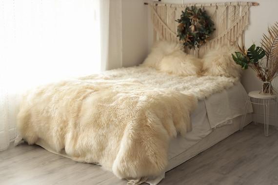 Quattro Sheepskin Rug   Large Sheepskin   Creamy White Sheepskin   Sheepskin Throw   Merino Sheepskin Rug   #pol