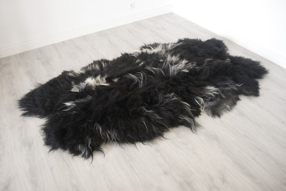 Real Icelandic Black Sheepskin Throw Scandinavian Decor Sofa Sheepskin throw Chair Cover Natural Sheep Skin Rugs Blanket Fur Rugs #Islszyt7